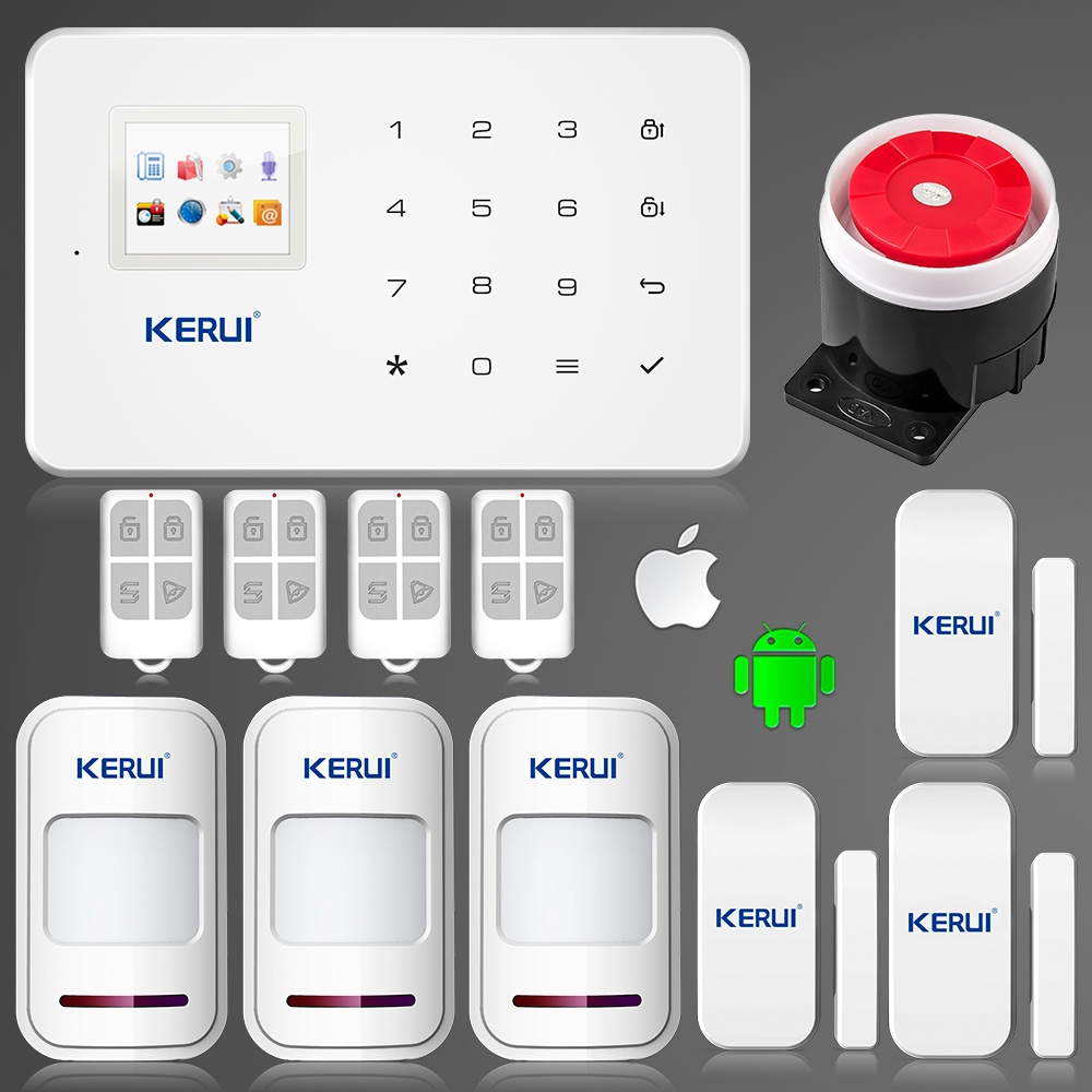 product Kerui G18 wireless Android iOS <font><b>App</b></font> remote control gsm sms alarm system wireless window gap magnetic sensor security smart system