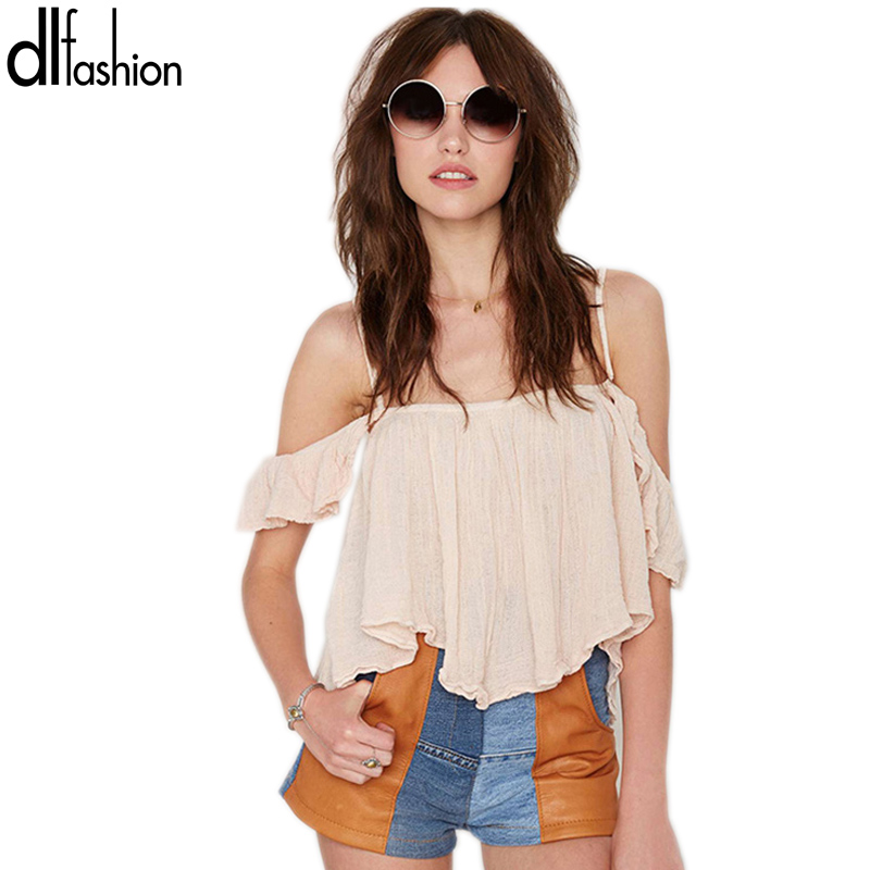 Off shoulder hot sale crop top 2016 summer style sexy slash nech solid t shirt women fashion new slim loose short top t-shirts(China (Mainland))