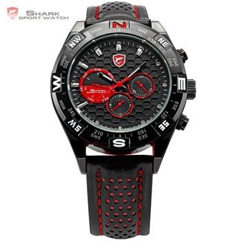 Original SHARK 6 Hands Date Day Stainless Steel Case Genuine Leather Strap Black Red Quartz Wrist Race Men's Sport Watch / SH080