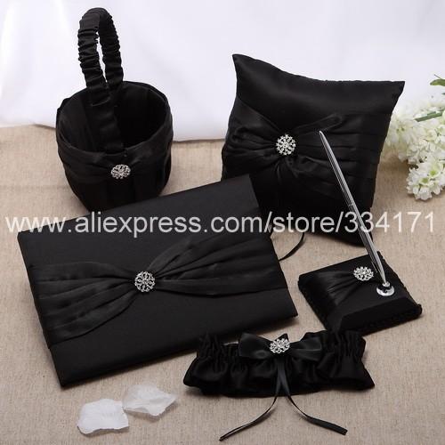 Free shipping 5pcs set Classic Wedding Collection Set in Black Satin 1050(China (Mainland))