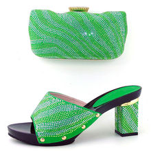 Latest fashion African pump shoes matching with handbag set JUY12 green heel height 9CM(China (Mainland))