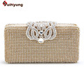 Free Shipping New Women Luxury Rhinestone Clutch Bag Good Quality Crown Full Diamond Wedding Handbag Purse