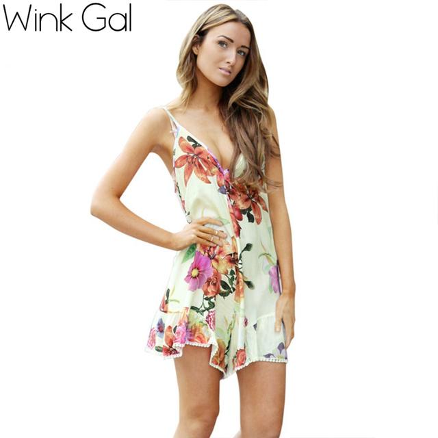 Wink Gal 2015 тенденции моды лето V-образным вырезом Спагетти ремень Sexy цветочные ...