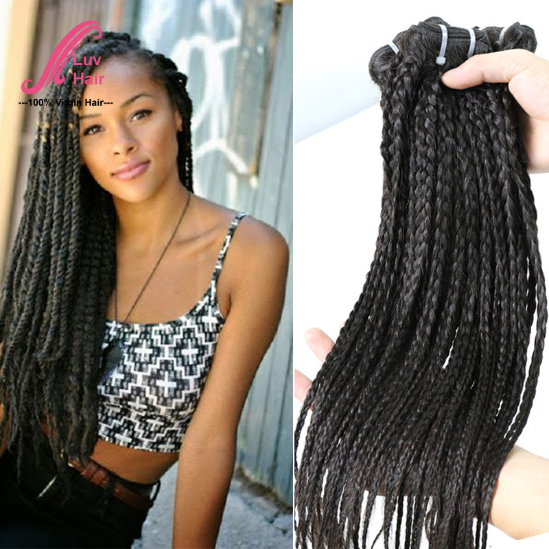 Crochet Box Braids Human Hair : Crochet Braids Straight Human Hair Virgin brazilian braided human hair ...