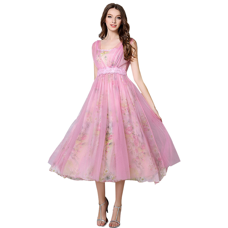 Vintage Pink Printed Lace Summer Women Dress With Sash Mesh O Neck Ankle-Length Dress High quality(China (Mainland))