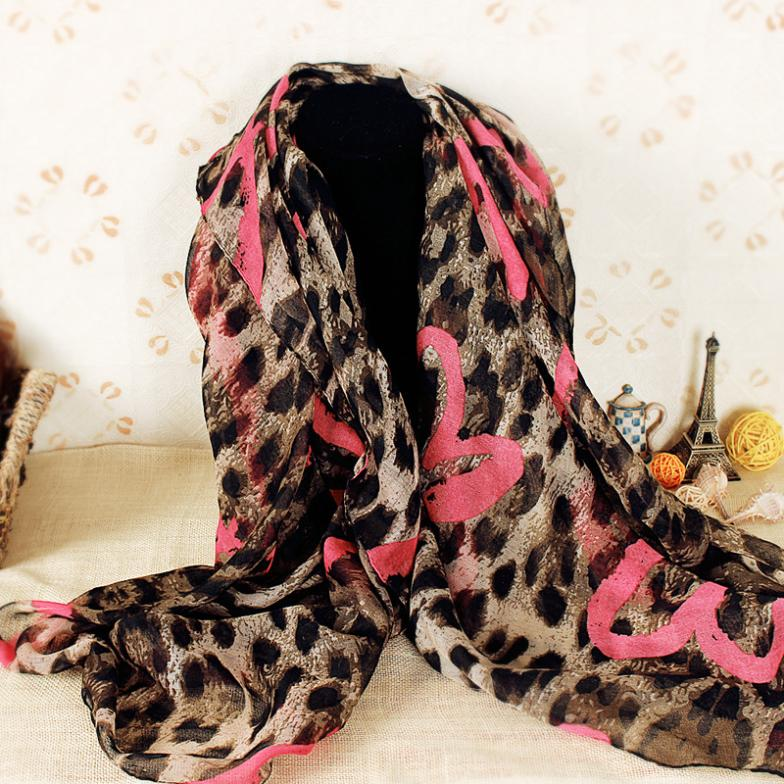 Fashion Lover's Gift Polyester Women Scarf Voile Heart and Leopard Printed Shawl Scarf Wholesale Free Shipping S3930(China (Mainland))