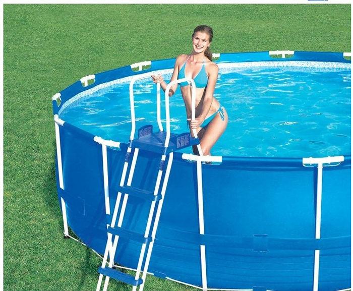 Intex pool 366 intex metal frame pool 366 x 76 cm 28212gn for Piscina inflable rectangular