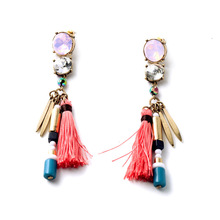 2015 Fashion Brands Design Pink Zircon Stone Clear Glass Crystals Pink Tassel Pendant Drop Earrings E1888(China (Mainland))