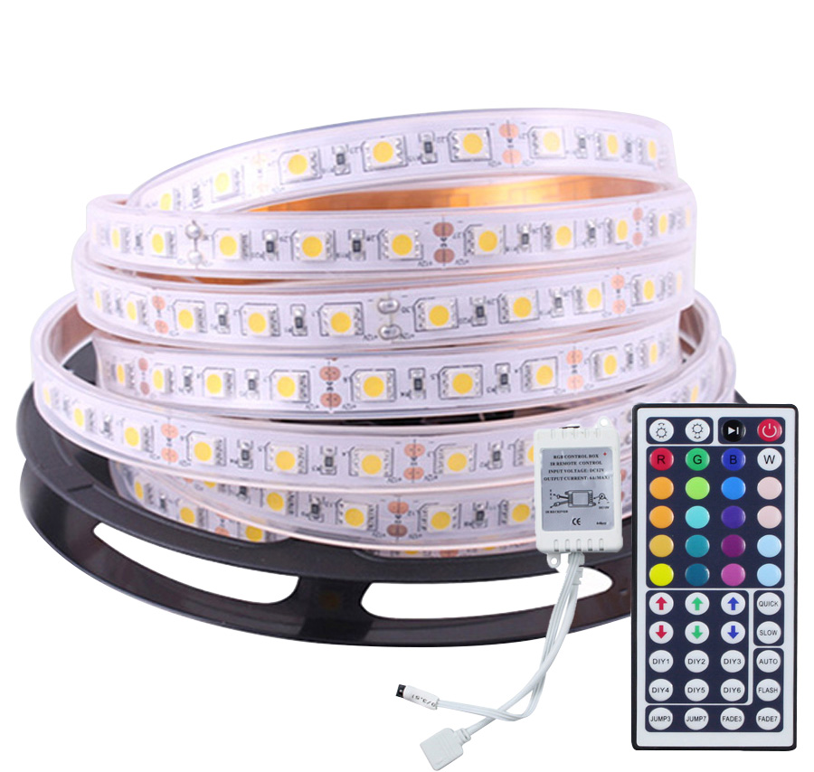 IP67 Flexible Ribbon 5M 5050 60LEDS/M RGB LED Strip Light With Silicon Tube+44Key IR Remote Controller Underwater Pool Led Tape<br><br>Aliexpress