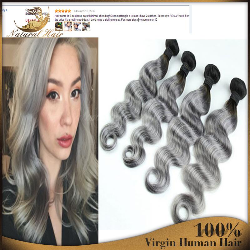 4pcs/lot  ombre hair weave Brazilian body wave brazilian virgin hair two tone T1b grey free shipping human hair extensions<br><br>Aliexpress