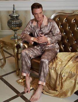 2016 Fashion Geometric Men Pajama Casual Button Full Sleeve Pijamas Imitation Silk Sleepwear Turn-down Collor Nightwear 20506