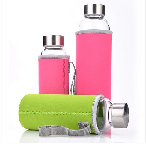 SGS Hot Selling Glass Sport Water Bottle With Protective Bag 280ml / 350ml / 500ml Fruit Outdoor Bike Bottles Hight Qualtiy(China (Mainland))