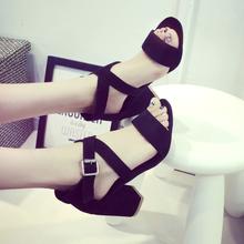 2016 button fashion wide heel sandals black medium heel summer pumps sandals women