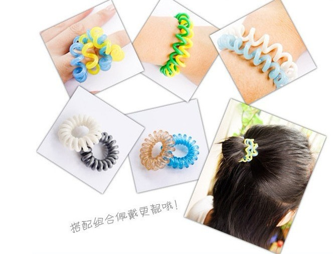 100PCS Wholesale Plastic Hair Braider Head Colorful Rope Spiral Shape Hair Ties Hair Styling Tools Telephone Wire Accessories
