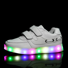 2016 SIZE 25-37 Kids Sneakers Fashion USB Charging Lighted 7 Colorful LED lights Children Shoes Casual Flat Girls Boy Shoes TX34(China (Mainland))