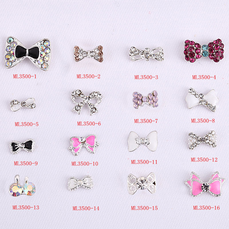 2016#CA077 New 2000pcs 3D Jewelry Bow tie Shaped Nail Art Deco Deluxe Alloy Jewelry Glitter Rhinestone, ML01-1997(China (Mainland))