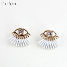 PrePiece women alloy crystal eye ear jacket 3 colors paint black white stud earrings girls exquisite jewelry new designer PE0075(China (Mainland))