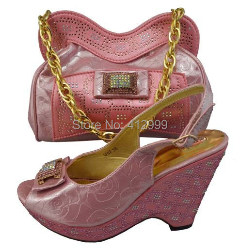 High quality pink women pumps, closed toe style italian design wedding shoes and matching bags,GF07(China (Mainland))