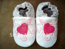 Guaranteed 100% soft soled Genuine Leather baby shoes /Deep pink Heart(China (Mainland))