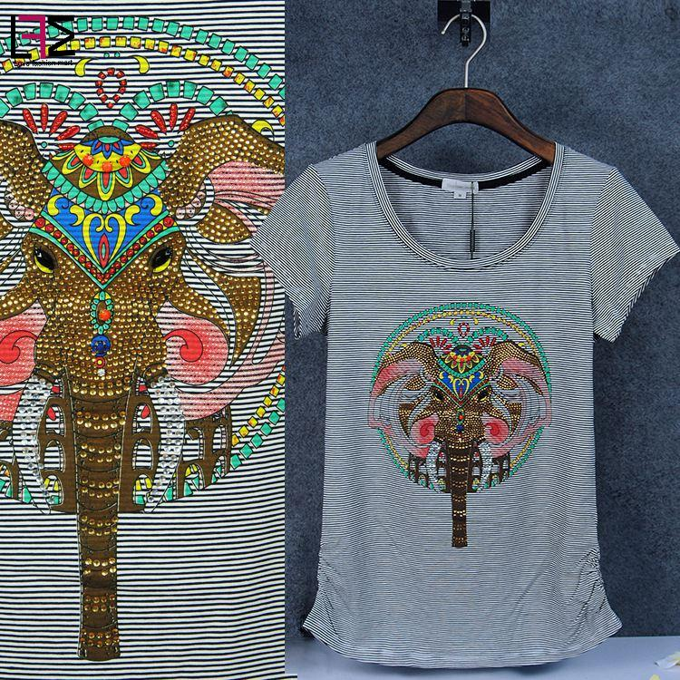 2016 Summer Stripe Print Tee Diamond Beading Elephant T-shirt 100% Cotton Slim Fit Top Brand T shirt Women Free Shipping Y03346(China (Mainland))