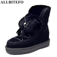ALLBITEFO genuine leather Height Increasing winter snow boots fashion tassel short women boots high heel martin ankle boots(China (Mainland))