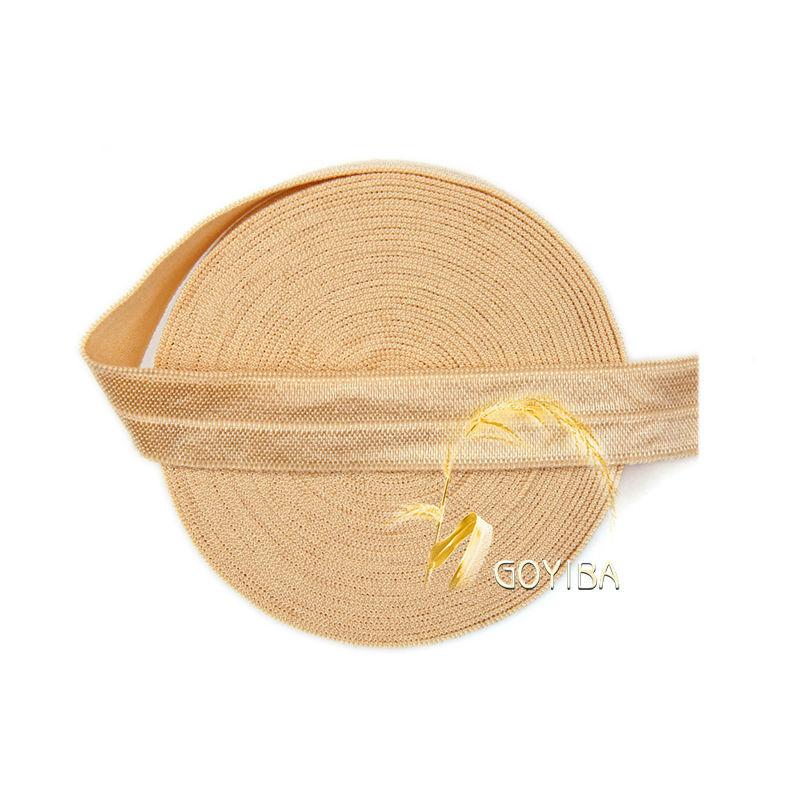 "GOYIBA 5 Yard 5/8"" 1.5cm Raw Silk Color FOE Foldover Elastics Spandex Satin Baby Hairband Headband Lace Trims DIY Sewing Notions(China (Mainland))"