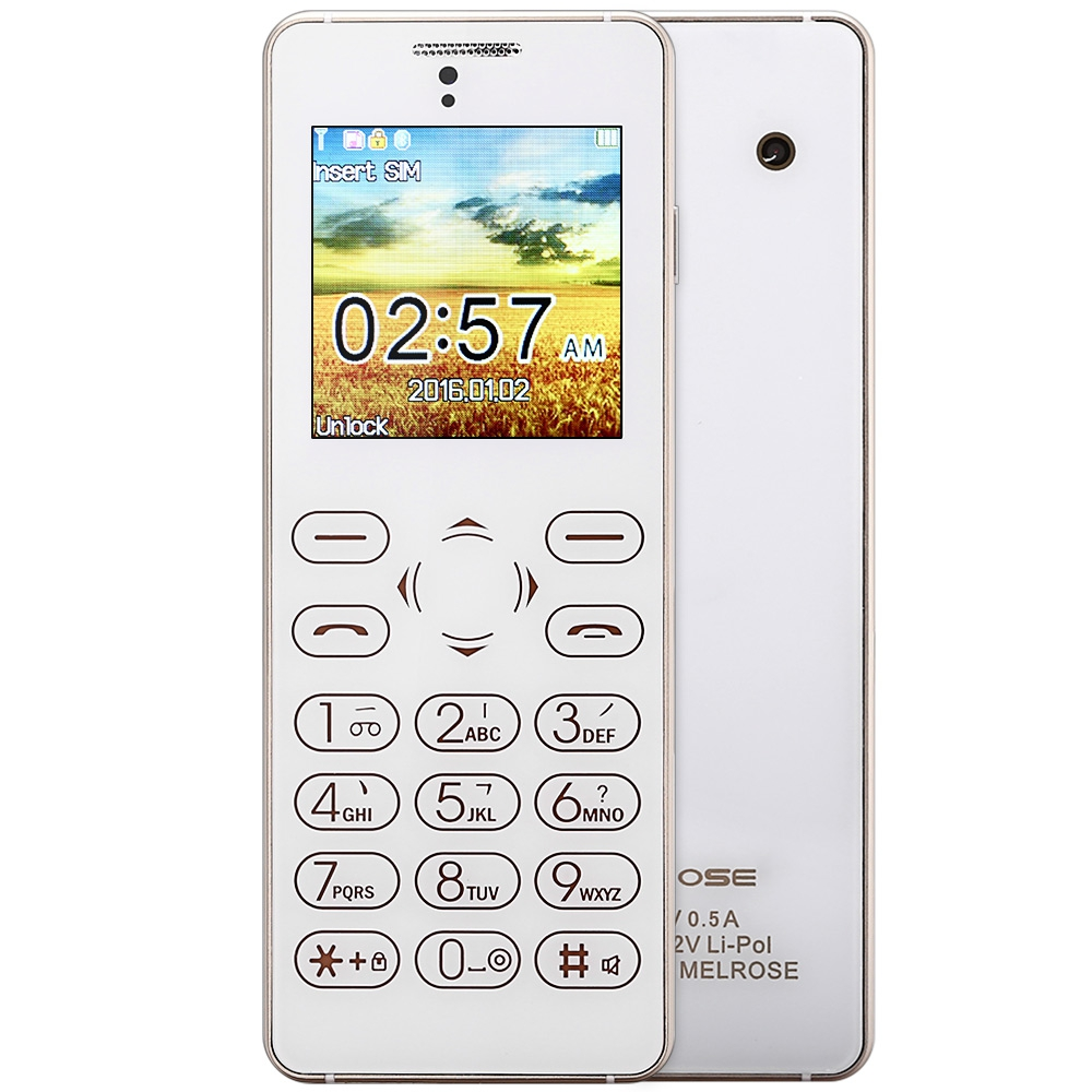 MELROSE T1 Ultra-thin 1.54 inch Full Touch Card Mini Mobile Phone FM Back Camera Anti-lost Audio Player Sound Recorder Cellphone(China (Mainland))