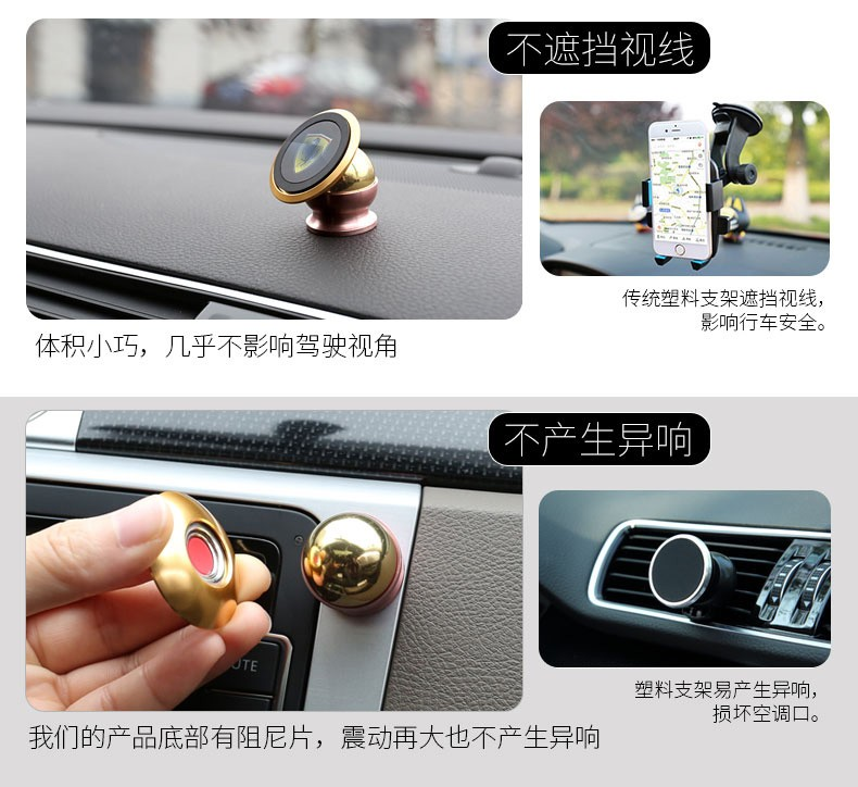 Small size car holder 360 degree rotation strong magnetic car multiple mobile phone bracket with strong mount magnetic core(China (Mainland))