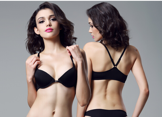 Wholesales or Retail Free shipping Seductive smooth plunge Front Closure T-shirt Y-strap Bra 34 36 B C D underwire(China (Mainland))