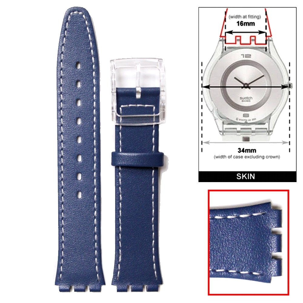 16mm Genuine Leather Replacement Blue Watch Band fits S w a t c h Skin WB1068F16GB(China (Mainland))