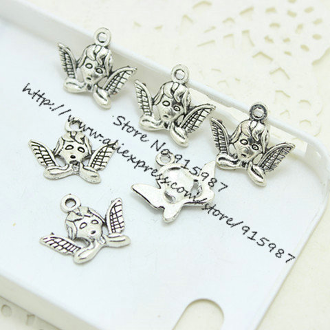 (60 pieces/lot) 16*20mm Antique Silver Metal Alloy Angel Charms Jewelry Charms Pendants Fit Jewelry Making Charms diy D0411(China (Mainland))