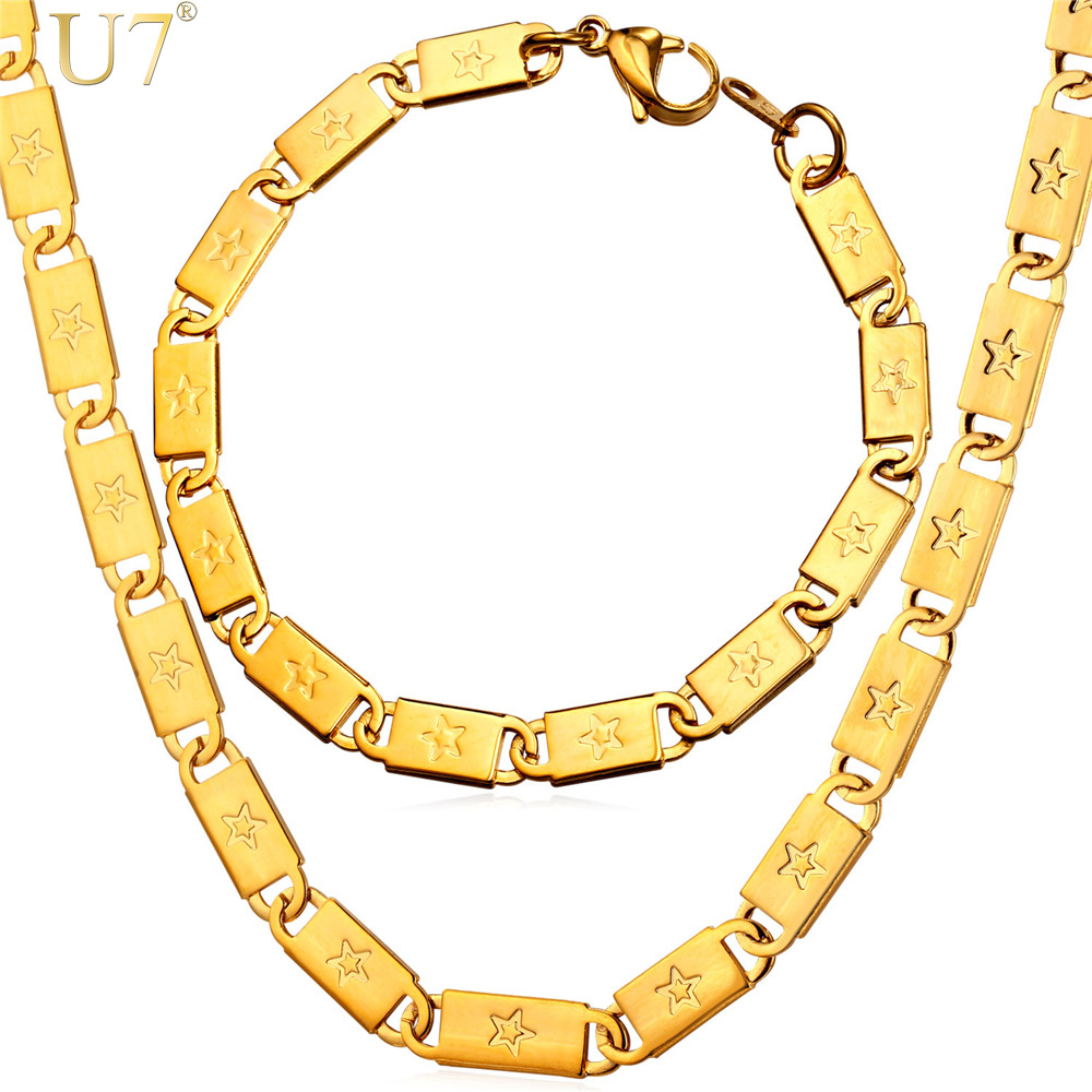 U7 Gold Chain Jewelry Sets Men's Fashion Stainless Steel Jewelry Wholesale Trendy 4 Size Star Chain Bracelet Necklace Set S813(China (Mainland))