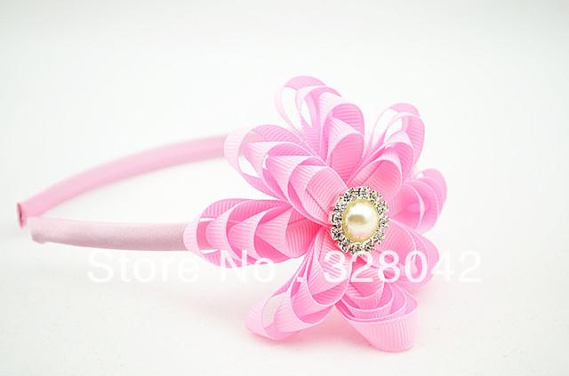 EMS Free shipping princess DIY Grosgrain Ribbon flowers Hairbands girl cute DIY Christmas gifts hair accessories 120pcs/lot