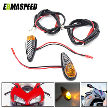 Buy Pair Motorcycle Carbon Color Side Decorative Amber Turn Signals Indicators Blinkers Fairing Lights Universal Kawasaki Yamaha for $6.64 in AliExpress store