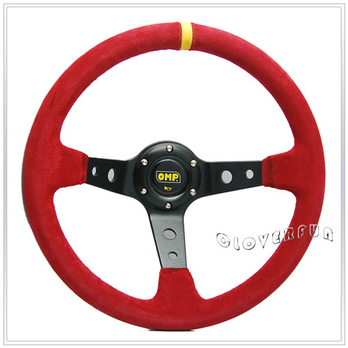 "14"" SPC Style RED Deep Dish Sport Racing Suede Leather Steering Wheel,100% Alloy Spoke(China (Mainland))"