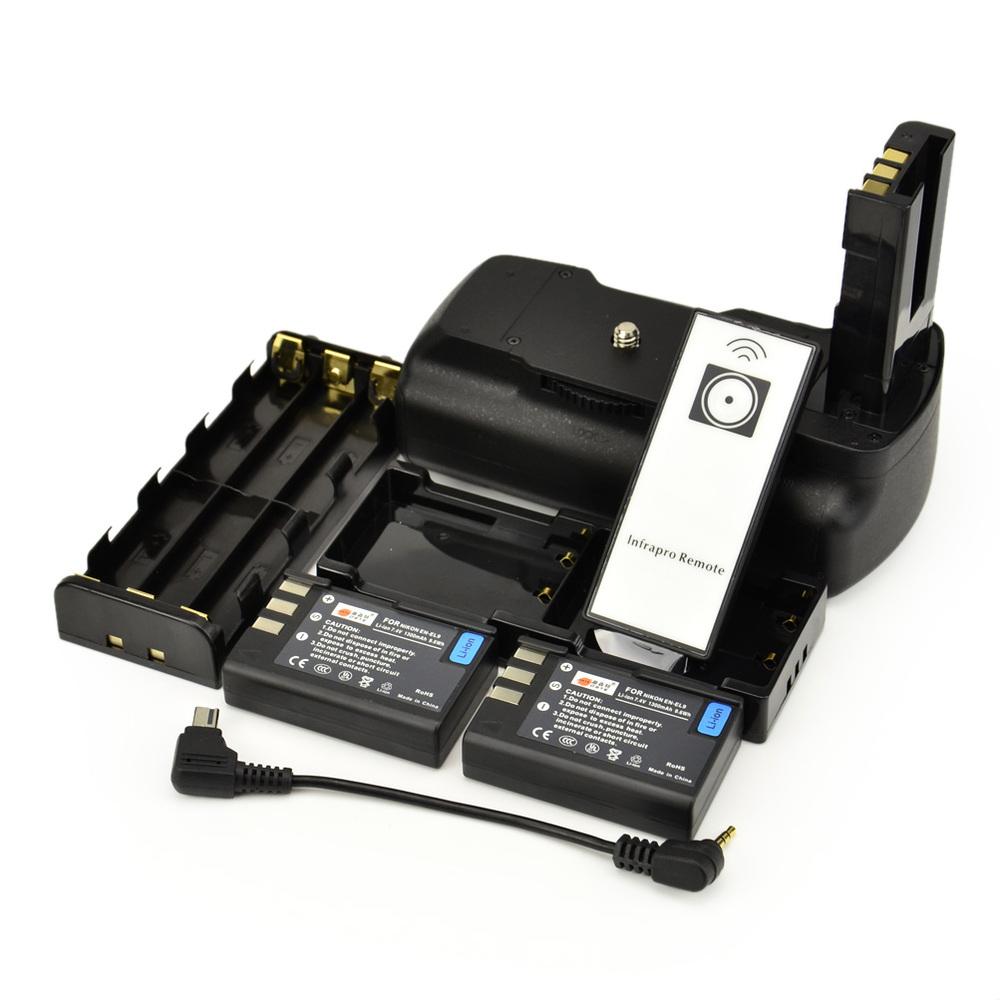 DSTE Multi-Power Battery Grip + Remote Control + 2 x EN-EL9 Battery For Nikon D40 D40X D60 D5000 D3000 Digital SLR Camera(China (Mainland))