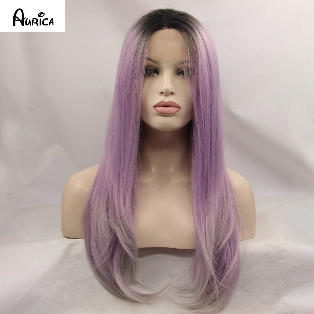 Fashion Ombre Purple Natural Straight Synthetic Lace Front Wig Glueless 3 Tone Black/Grey/Purple Heat Resistant Hair Women Wigs<br><br>Aliexpress