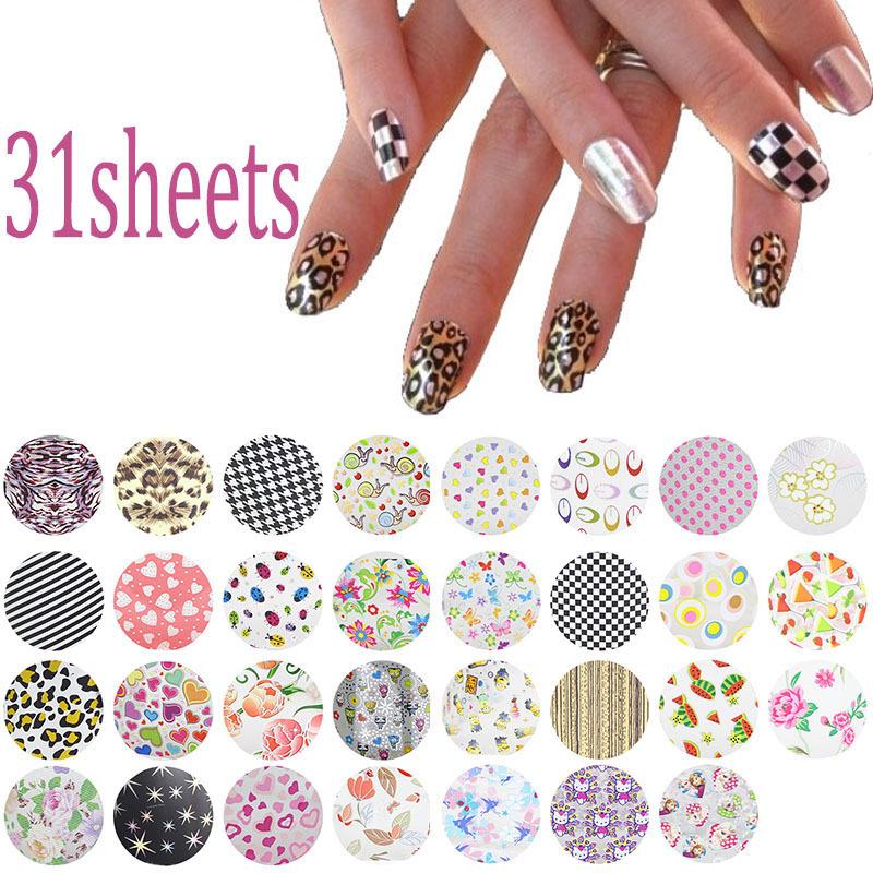 31Pcs/lot 20*4cm Symphony Nail Foil Sticker Flower Style Nail Art ...
