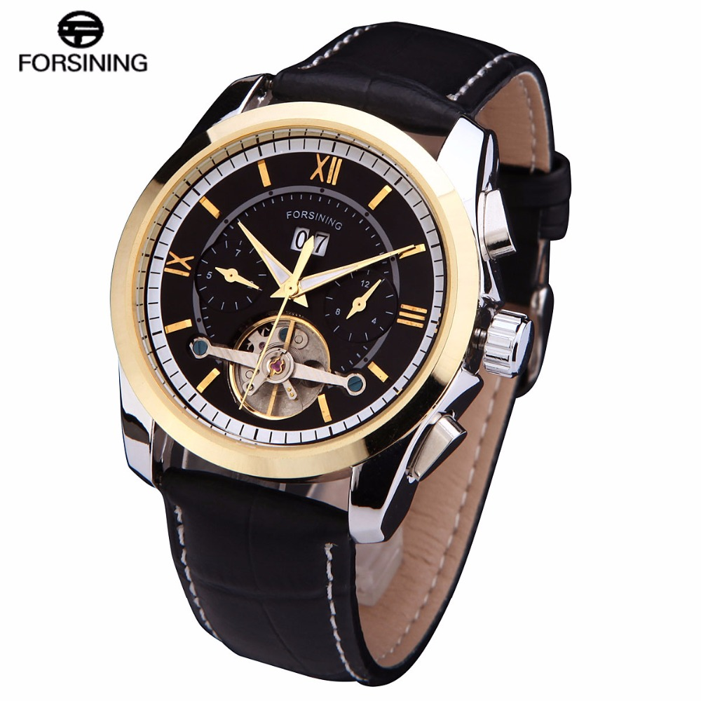 Tourbillion 2016 FORSINING luxury brand men Mechanical automatic self wind fashion casual date male watches genuine Leather band<br><br>Aliexpress