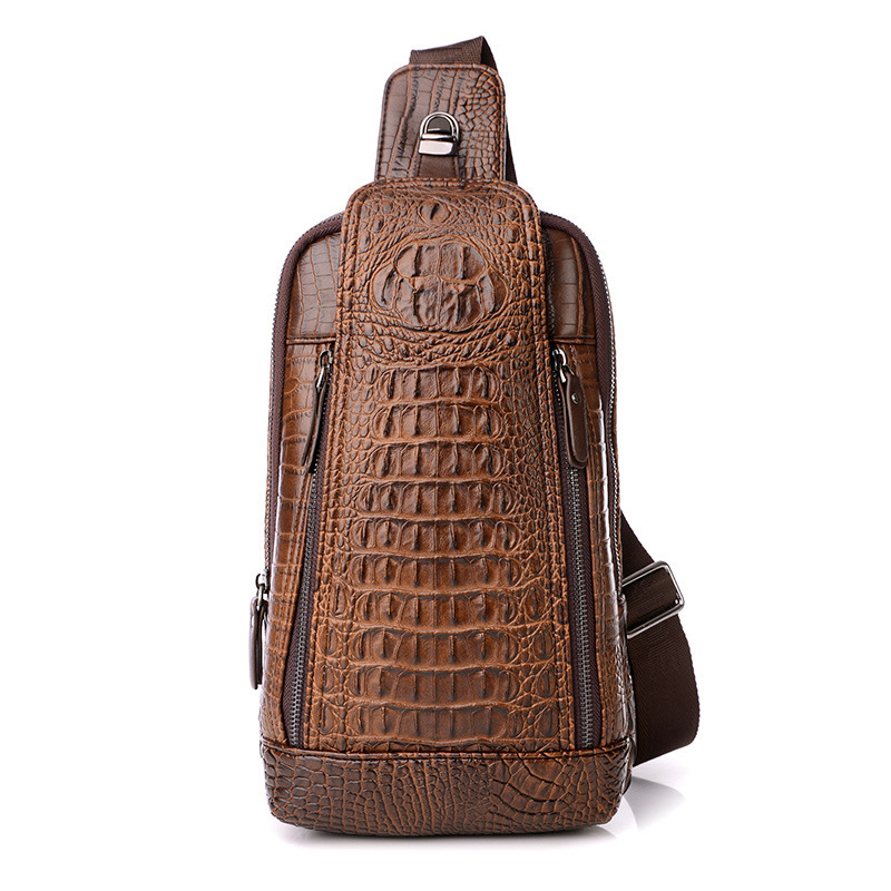 Vintage Crocodile Pattern Leather Chest Bags for Men Shoulder Bags Male Cowhide Chest Packs Crossbody Messenger Bags Handbag(China (Mainland))