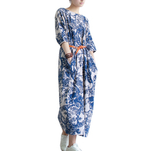 SERENELY 2016 Summer Dress Plus Size Women Dress Loose Casual Dresses Vintage Printed Linen Dress Party Dresses D04(China (Mainland))
