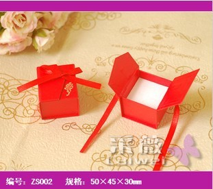 Red square craft earrings rings set gift fine paper case packing box 5*4.5*3.5cm,30 pcs/lot