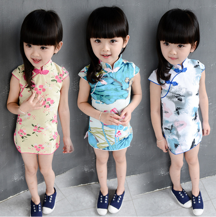 High quality!2015 China Style Paragraph Flower Sleeveless Classic Cheongsam Cotton Summer Kids Evening Dress/Qipao SHCYCC77(China (Mainland))