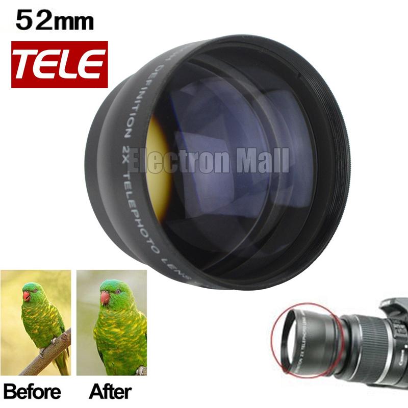 New Arrival!! 52mm 2x Telephoto Lens for Canon Fuji Pentax Olympus Nikon D80 D90 D3100 D5100 D5200 D7000 D7100
