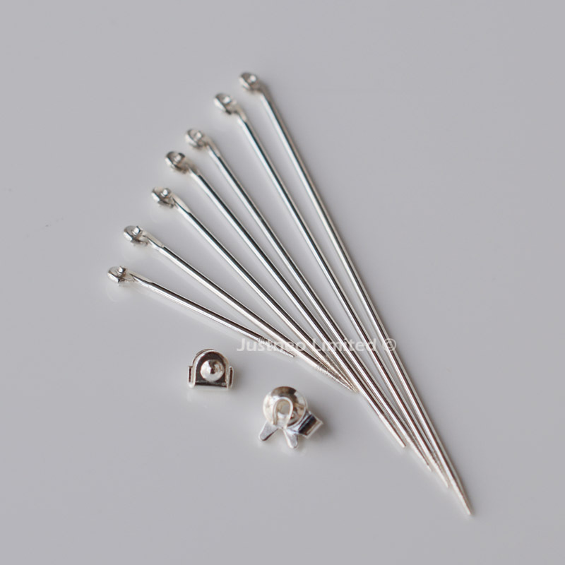 Badge brooch findings,solid 925 sterling silver catches joints pinstems craft breastpin safty-closure needle lapel stick jewelry(China (Mainland))