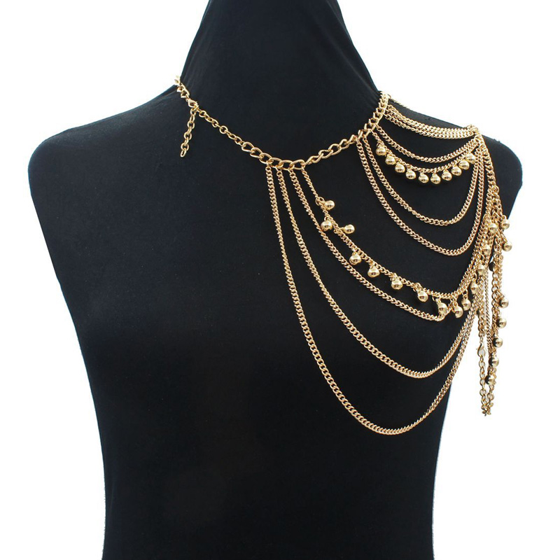 Women Tassels Link Single Shoulder Chain Necklace Chains Small Bells Body Chains Jewelry Crossover(China (Mainland))
