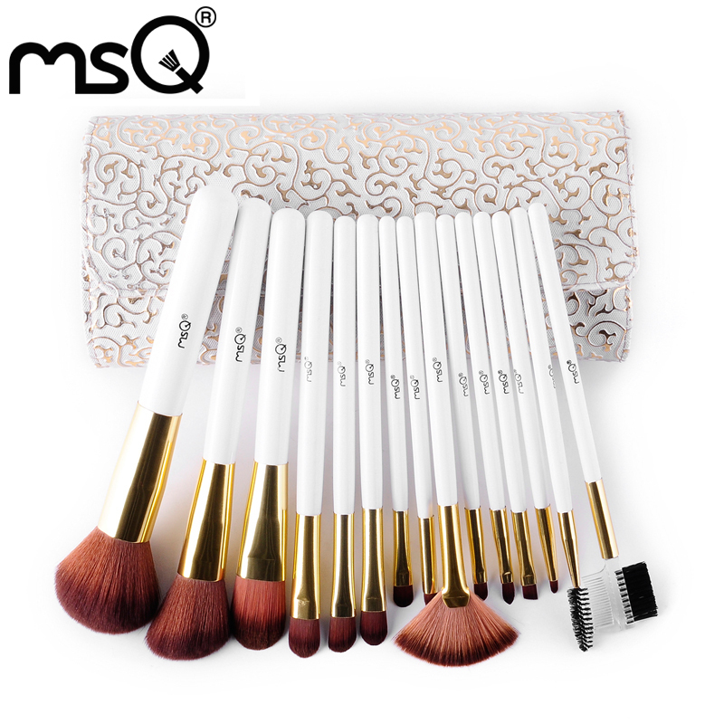 MSQ Brand Pro 15pcs High Quality Makeup Brushes Set Soft Synthetic Hair Cosmetic Tool PU Leather Case For Fashion Beauty(China (Mainland))