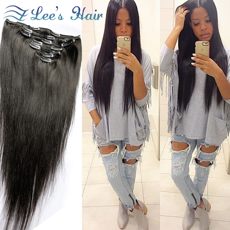 7A African American Clip In Human Hair Extensions Brazilian Human Hair 7pcs set 100g/set Human Hair Clip In Extensions(China (Mainland))