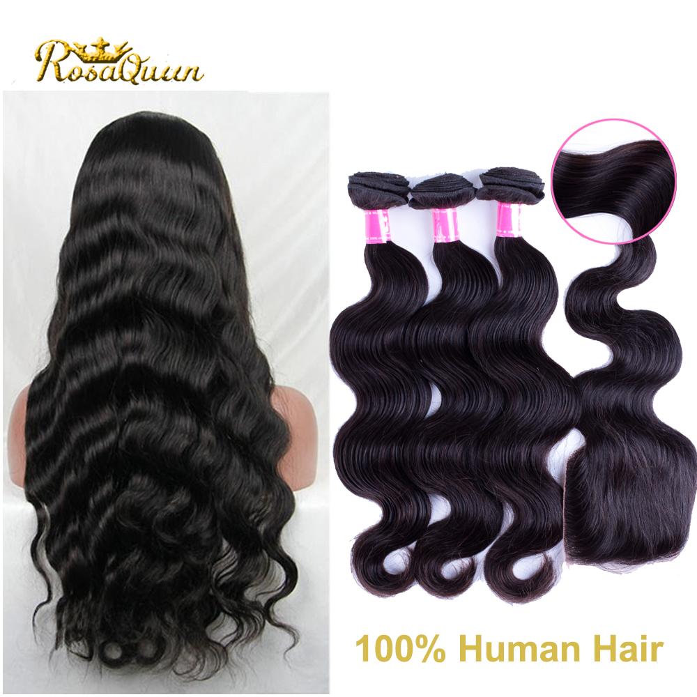 Mocha hair brazilian body wave Brazilian Virgin Hair 8a Unprocessed Human Hair Weave 3 pcs Hair Bundles with Lace Closure Hairs<br><br>Aliexpress