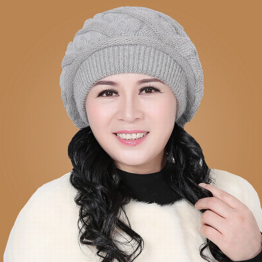 Fashion autumn & winter millinery women's beret hat knitted winter hat quinquagenarian cap new brand rabbit fur female beanies(China (Mainland))
